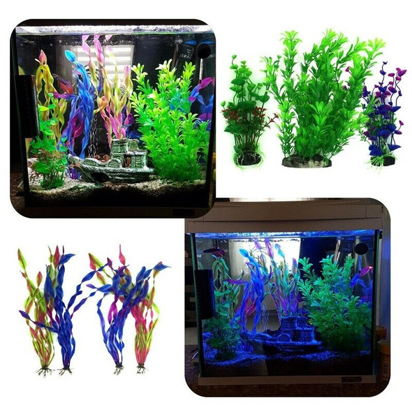 Artificial Aquatic Plants, 7 Pcs Large Aquarium Plants Plastic Fish Tank De
