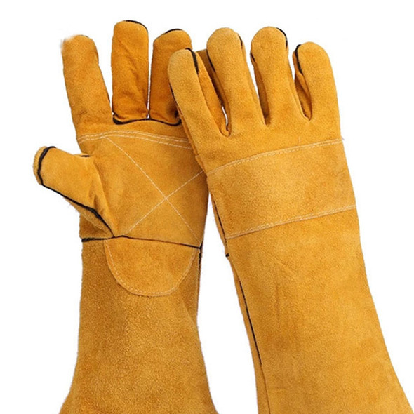 14 Inch Leather Welding Gloves Anti-Cut Temperature Resistant Fire-Proof Co