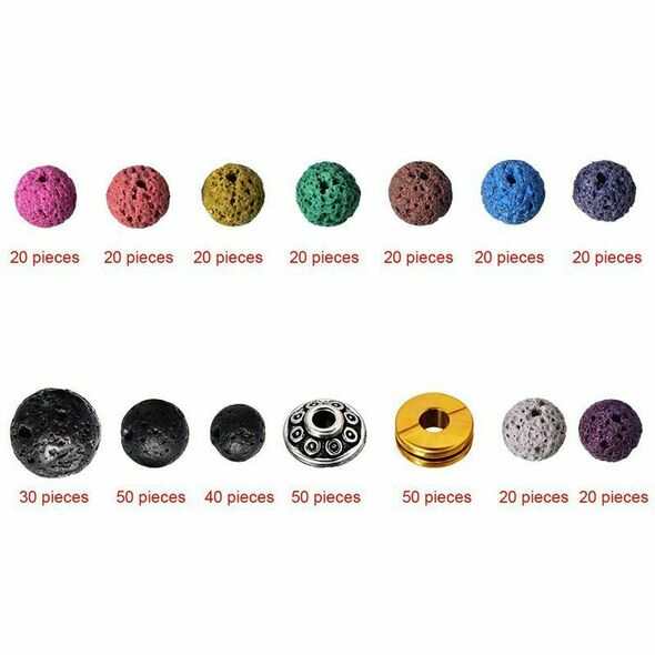400 Pieces Assorted Colored Lava Rock Stone Volcanic Beads Spacer Beads wit