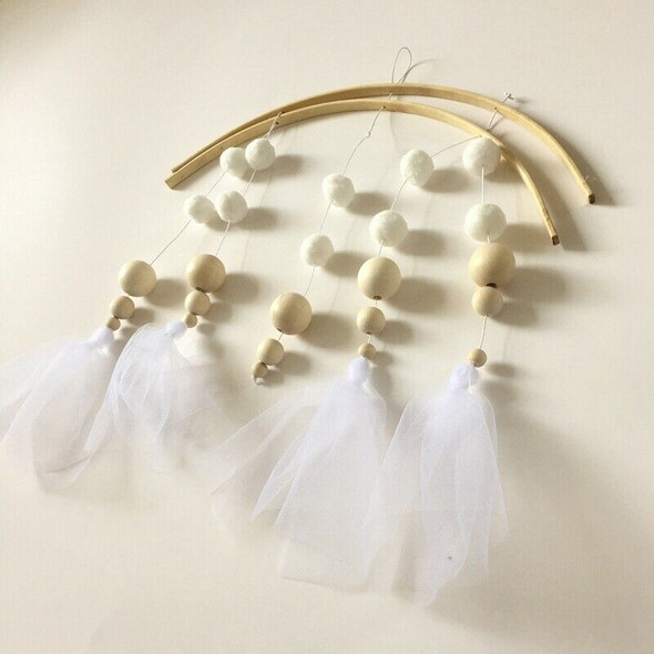 Photography Props Wood Beads Lace Hanging Decorations Crib Bell Wind Chimes