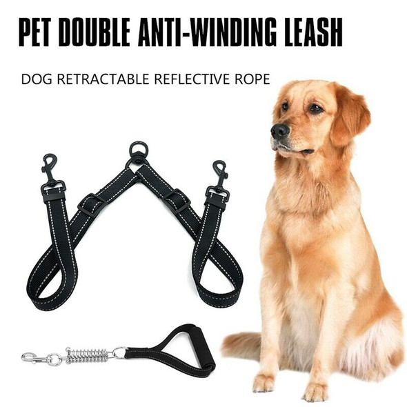 Nylon Dog Leash Coupler No Tangle Double Dog Dual Adjustable Splitter Lead
