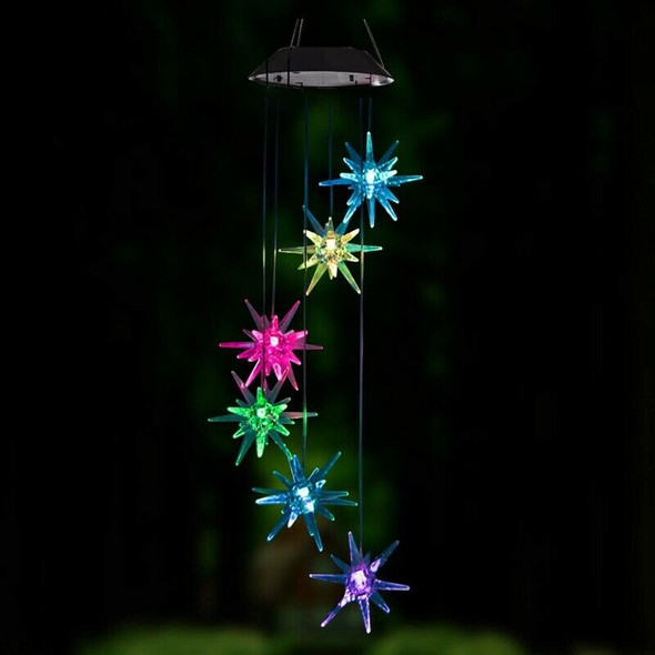 Led Solar Wind Spinner Color Changing Urchin Star Wind Chime Lamp for Home