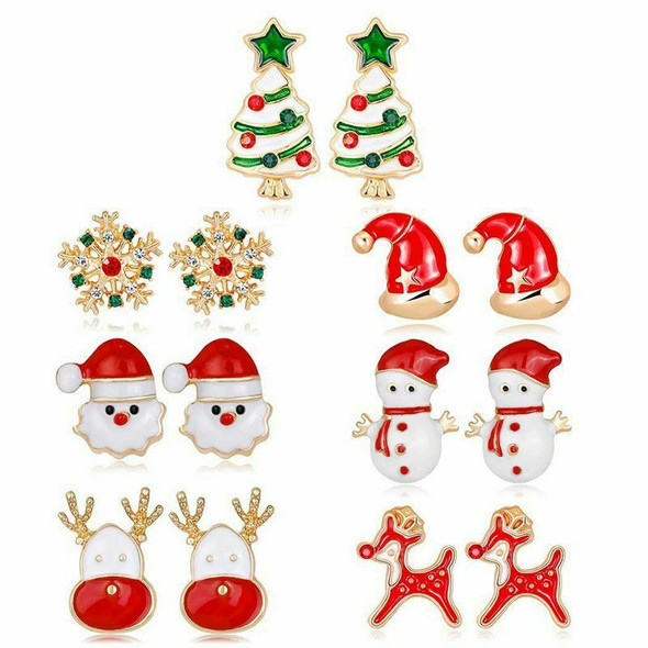 7 Pairs Christmas Earrings Cute Xmas Style Stud for Women Gift
