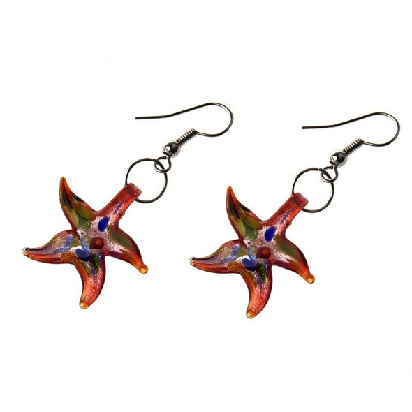 Murano Starfish Necklace Earrings Red