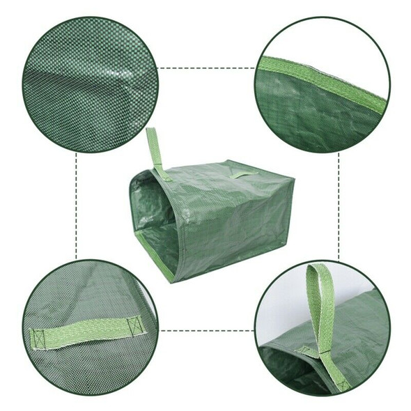 1Pcs Green Garden Lawn Leaf Yard Waste Bag Large Clean Up Container Tote Ga