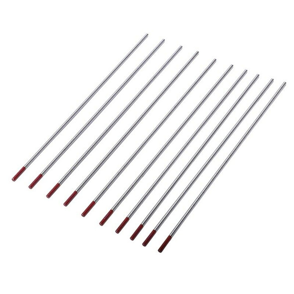 10Pcs Red Color Code 2.4x150 Thorium Tungsten Electrode Head Tungsten Needl