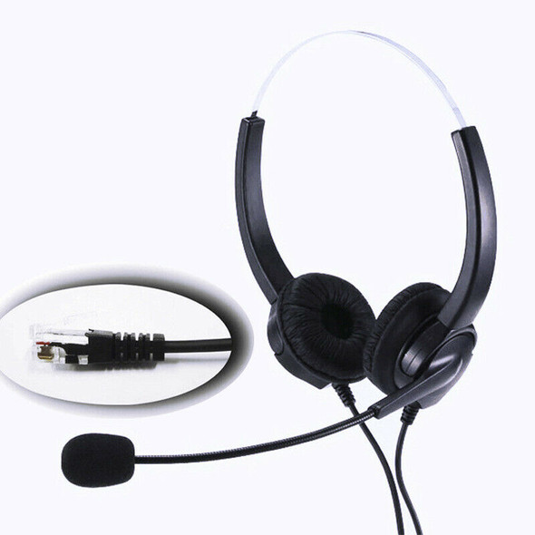 4-Pin RJ9 Hands-Free Call Center Noise Cancelling Corded Binaural Headset H