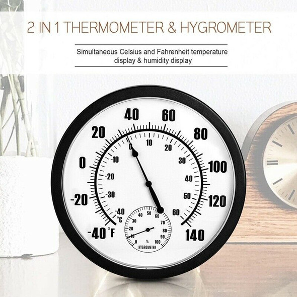 10 Inch Indoor Outdoor Weather Thermometer Hygrometer for Patio, Wall or De