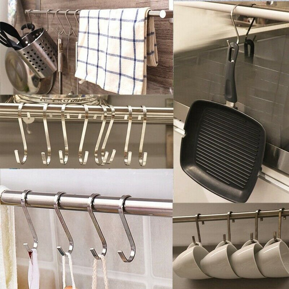 24-Piece S-Hook Thick Stainless Steel S Hook For Hanging, Kitchen Pan Pan H