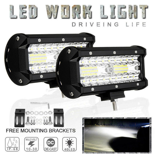 7 Inch 400W Led Work Light Bar Flood Spot Combo Offroad Truck Driving Fog L