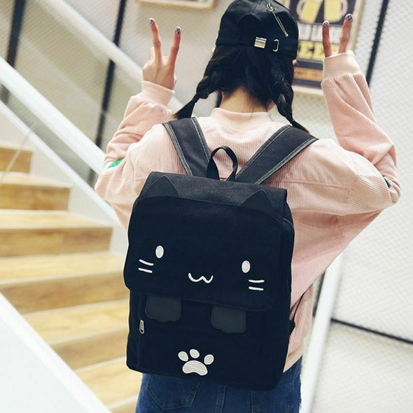 fashion Cute Cat Embroidery Canvas Student bag Cartoons Women Backpack Leis