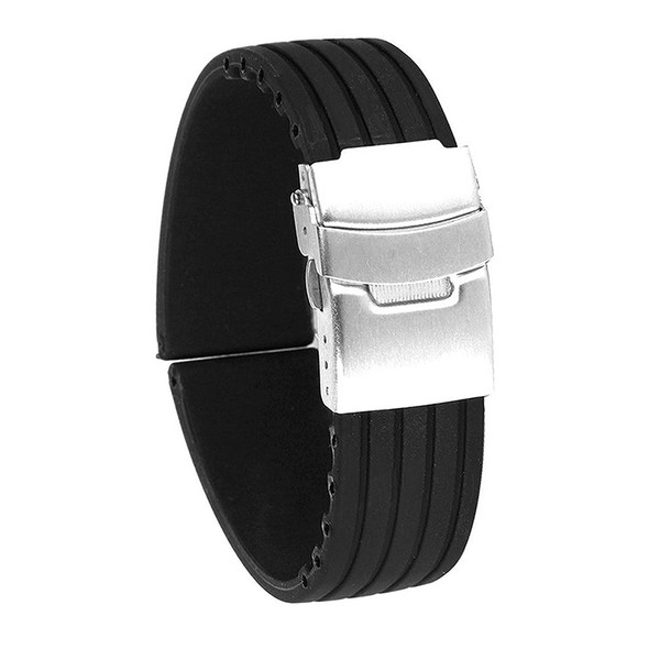 24mm Waterproof Stripe Pattern Silicone Watch Band Strap (Black)