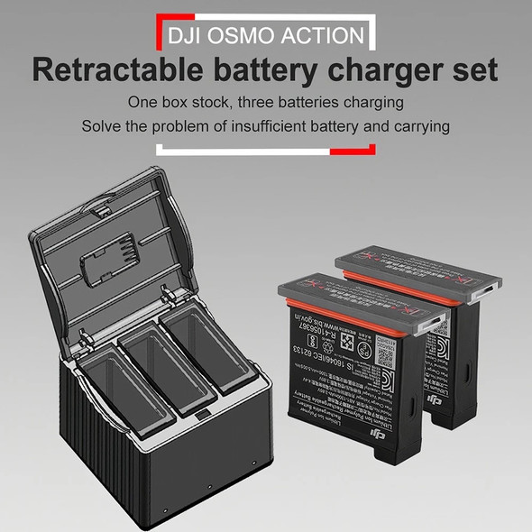 3 in 1 Battery Charger Hub for DJI OSMO Action Camera with TYPE-C Interface