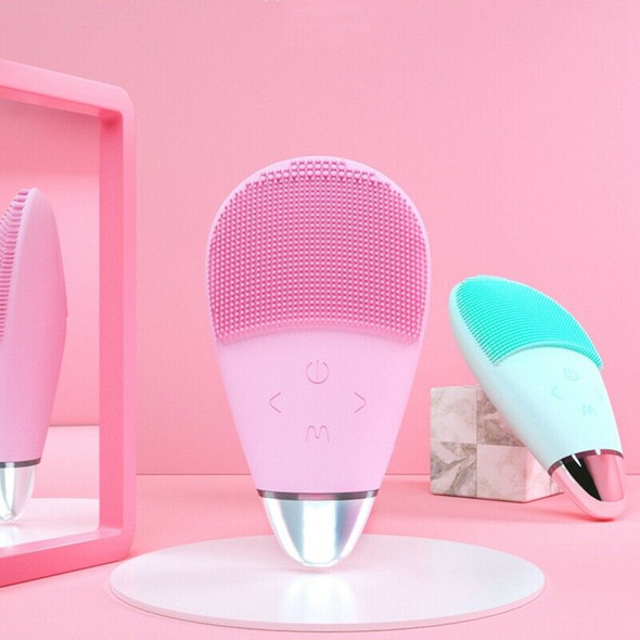 Pink Silicone Cleansing Instrument Electric Face Washer Five-Speed Adjustin