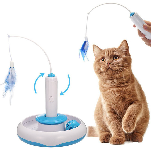 Cat Interactive Toys Electric Rotate Feather Toys Spinning Teaser Wand Moti