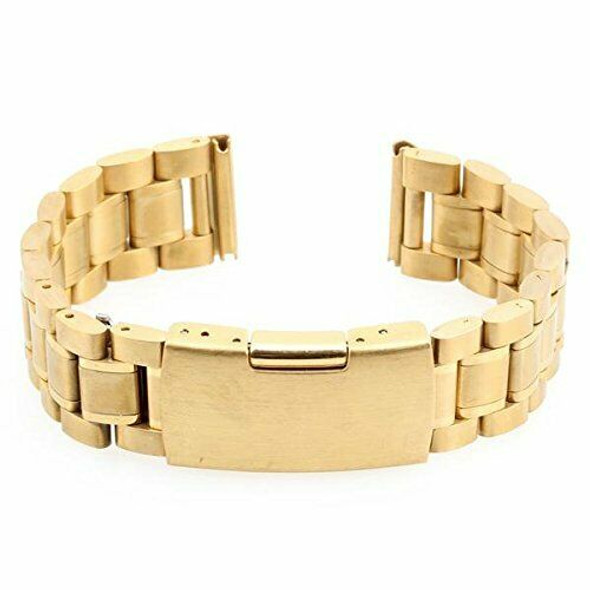 Men Women 18mm Golden Steel Watch Band Strap Bracelet Curved End High Quali