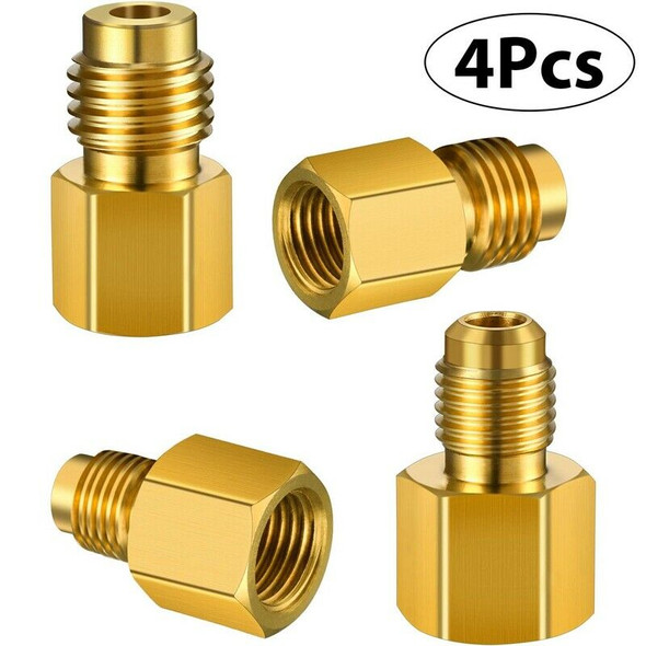 3X(4 Pieces 6015 R134A Brass Refrigerant Tank 1/2 Female To 1/4 Male Flare