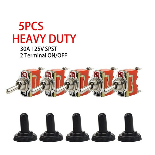 5X Toggle SWITCH ON/OFF Heavy Duty 30A 125V SPDT 2 Terminal Car Boat Waterp