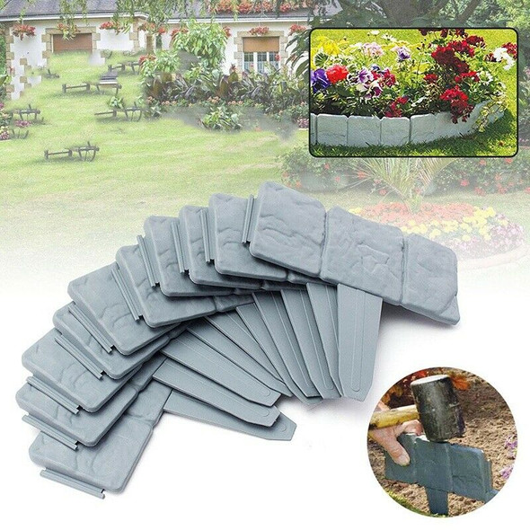 12Pc Grey Garden Fence Edging Cobbled Stone Effect Plastic Lawn Edging Plan