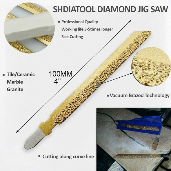 5Pcs 4 Inch/100mm Brazed Diamond Jig Saw Blade 46 Grit for Cutting Marble T