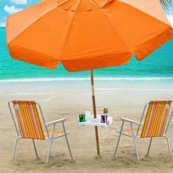 17 Inch Round Plastic Holders Snack Cups Beach Umbrella Table with Cup for