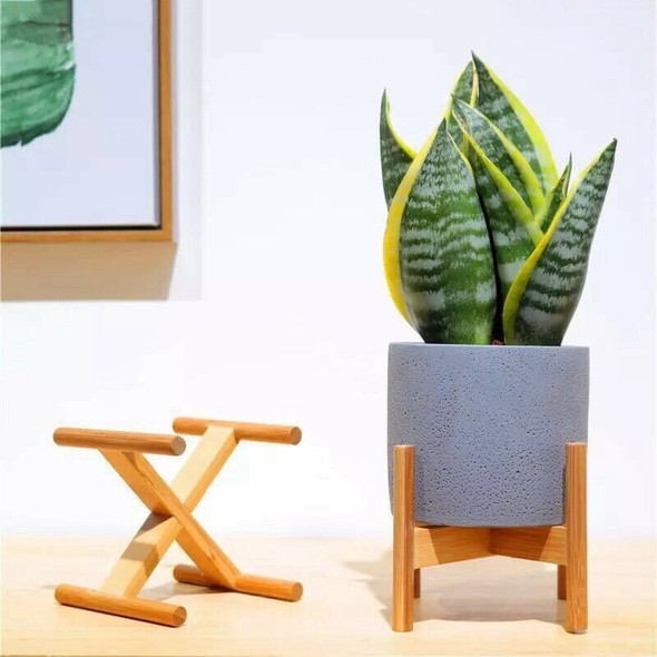 Retractable Indoor Plant Flower Pot Planter Stand Assembly Wood Holder Wood