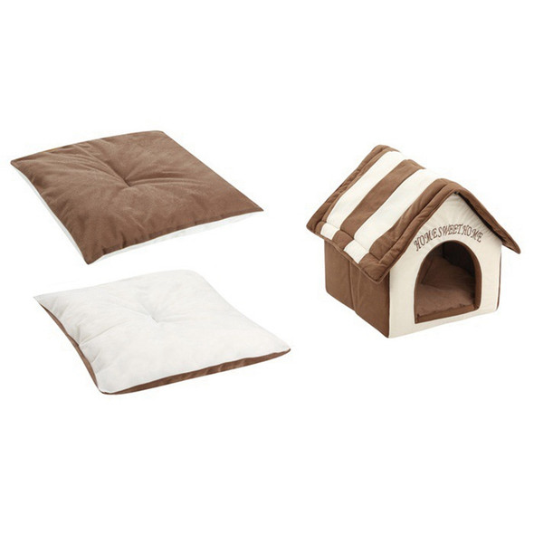 Home Sweet Home Pet Kennel Dog House Plush Pet Dog House Cat Bed Pet Suppli