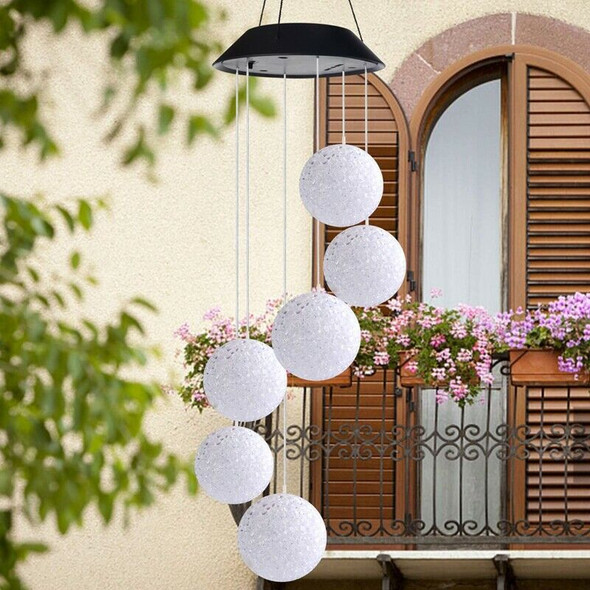 Wind Chimes Outdoor,Solar Color Changing Led Light Lamp Six Balls Mobile Ro
