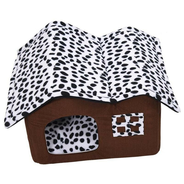 Luxury High-End Double Pet House Brown Dog Room 50x40x35cm