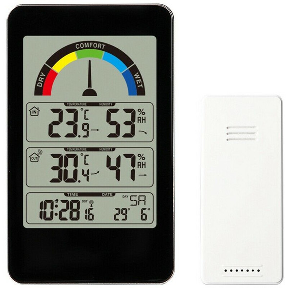 Weather Station Thermometer Digital Alarm Clock Wall Outdoor Indoor Street