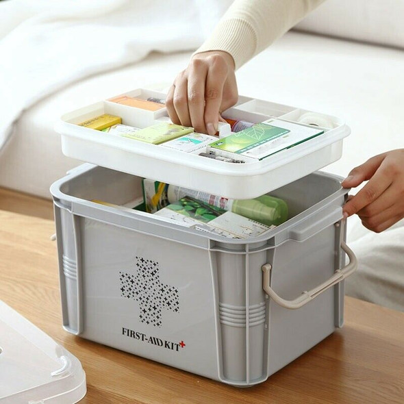 Medical Box First Aid Kit Organizer Plastic Storage Container Multi-Layer M