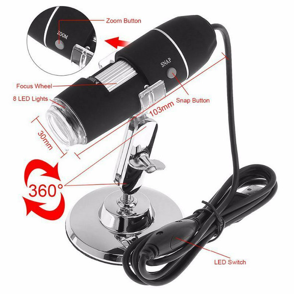 High Quality 1600X 2MP USB 8 LEDs Electronic Digital Microscope Inspection