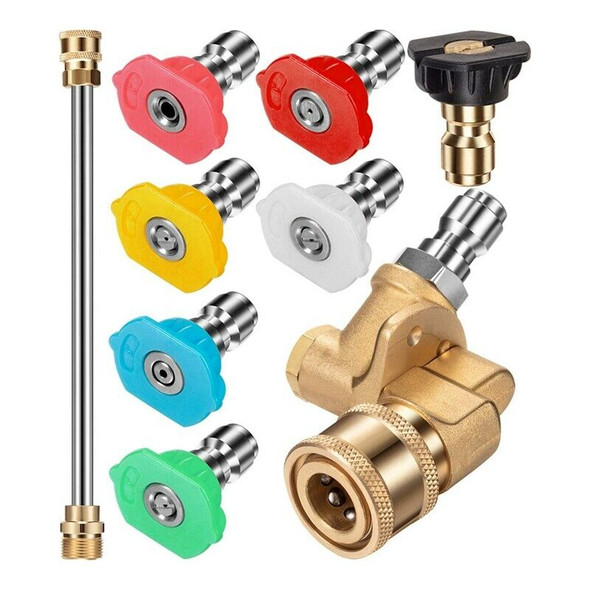 Pressure Washer Nozzle Tips Set, Quick Connector Pivoting Adapter Coupler w