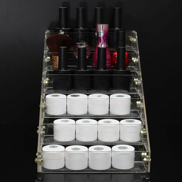 Removable Organizer Storage 6 Tiers Rack Acrylic Clear Nail Polish Cosmetic