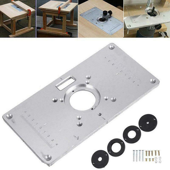Router Table Plate 700C Aluminum Router Table Insert Plate + 4 Rings Screws