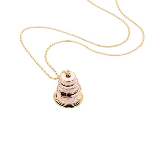 Lovers Cake Pendant Long Chain Choker Necklace Fashion Jewelry Gifts for Wo