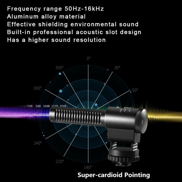 Professional Stereo Microphone Super Low Noise Cardioid Video Recording Mic