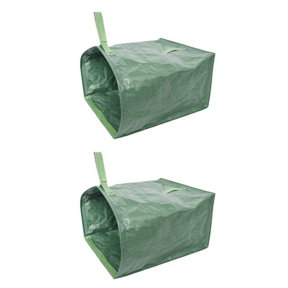 2Pcs Green Garden Lawn Leaf Yard Waste Bag Large Clean Up Container Tote Ga