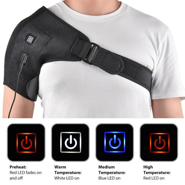 Electric Heat Therapy Adjustable Shoulder Brace Back Support Belt Dislocate