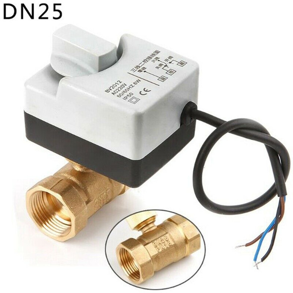 Ac220V Dn25 2 Way 3 Wires Motorized Ball Valve Electric Actuator With Manua