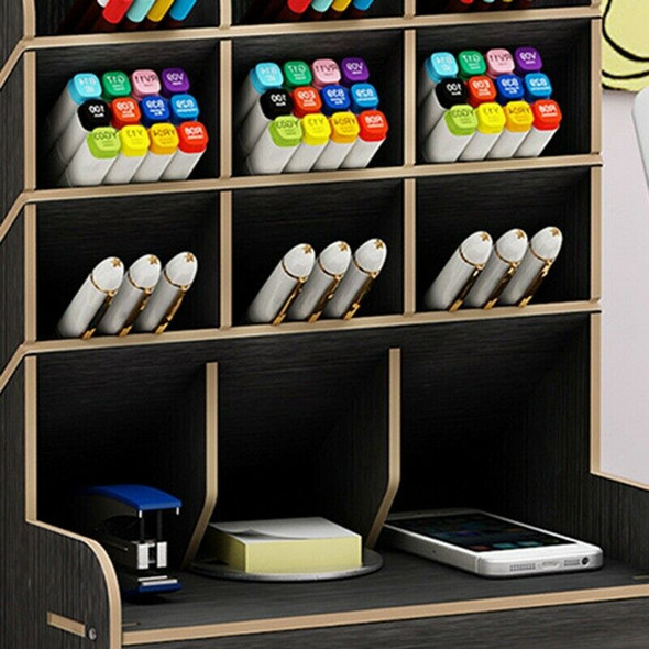 Wood Color Multi-Function Wood 13 Grids Desktop Stand Holder Cosmetic Brush