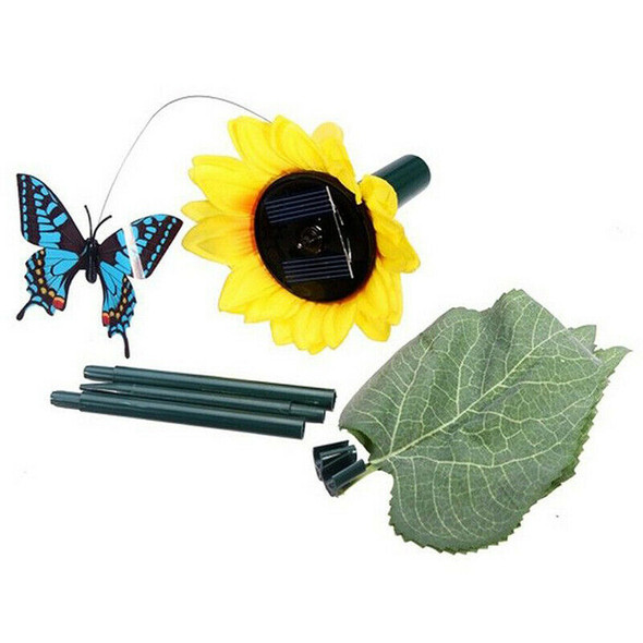2x Dancing solar / battery Sunflower with butterfly on garden tufts Garden
