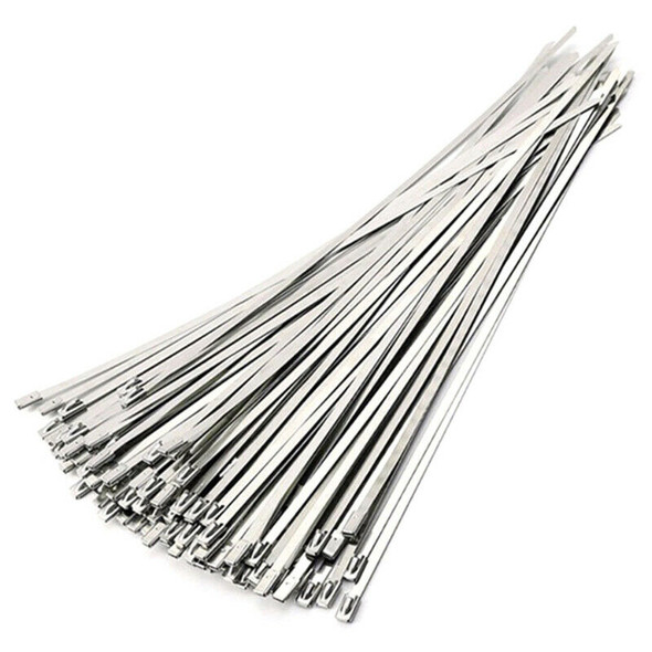 2X(50Pcs 4.6X300Mm Stainless Steel Exhaust Pipe Wrap Coated Locking Cable Z