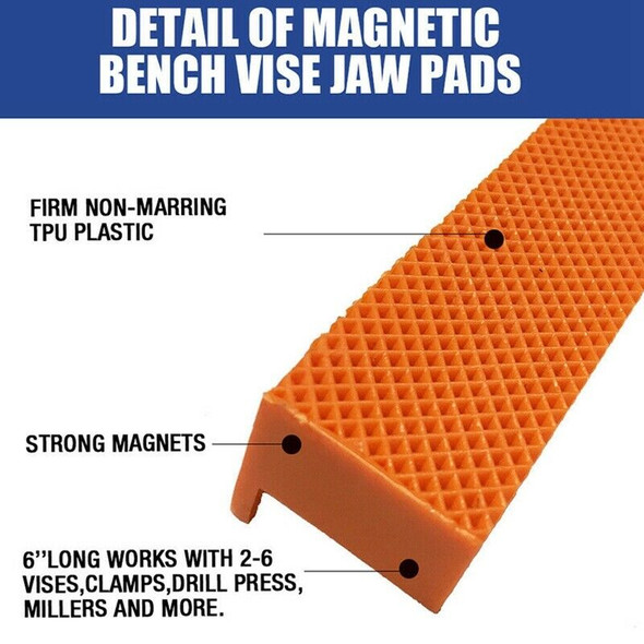 6 inch Magnetic Bench Vice Jaw Pad Multi-Groove Vise Holder Grips Heavy Dut
