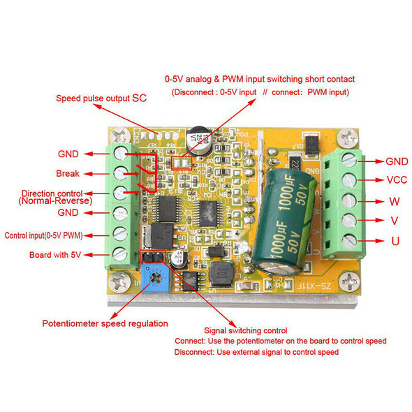 380W 3 Phases Brushless Motor Controller Board(No/Without Hall Sensor) BLDC