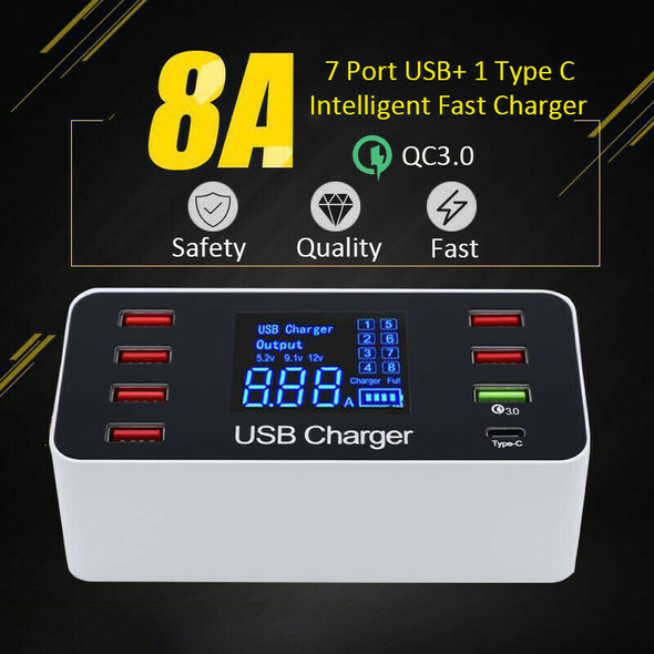8 Port Multi Fast Usb Charger Quick Charge 3.0 Multiple Usb Phone Charging