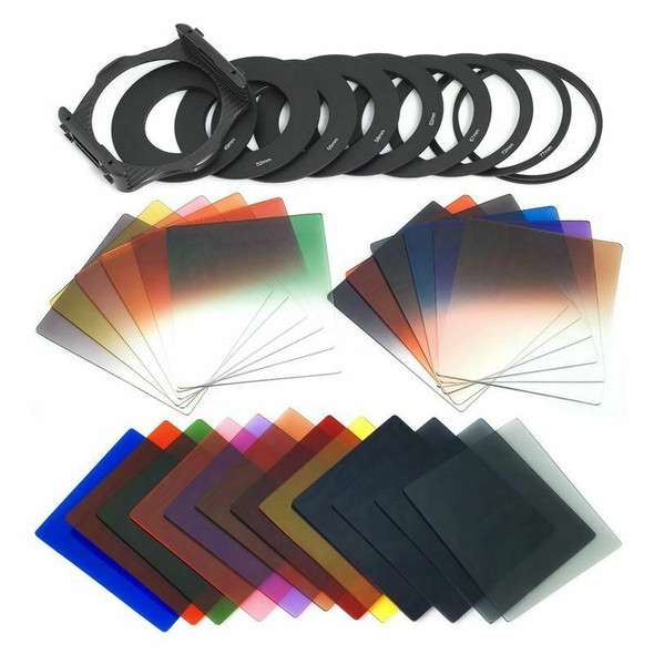 24pcs Square Full + Graduated Filter Set + 9 Size Adapter Ring Filter Holde