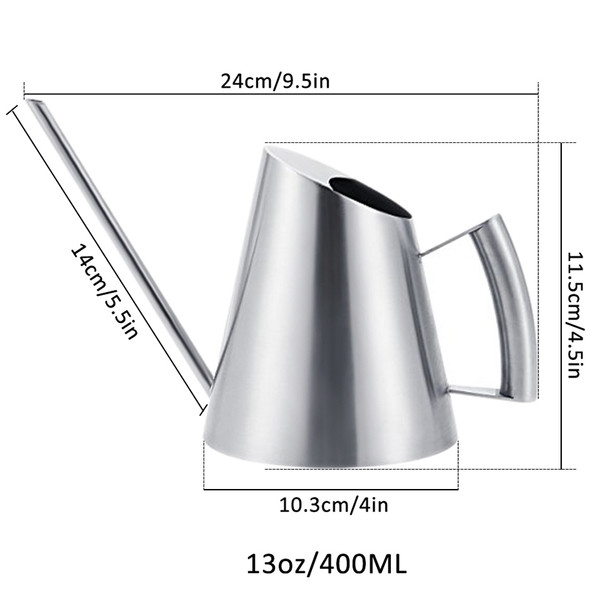 2X(400Ml Stainless Steel Watering Can Brushed Garden Planting Sprinkler Pot