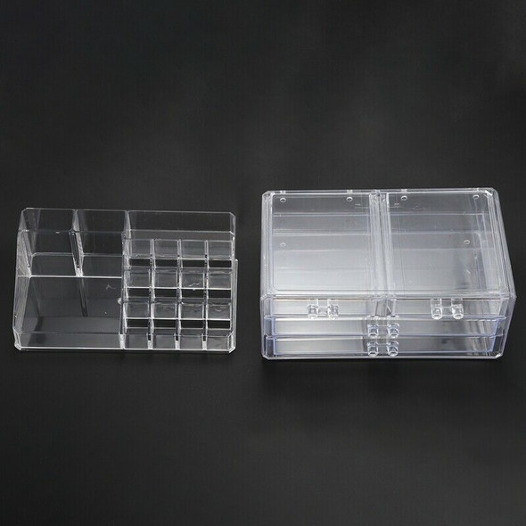 Clear Makeup Case 4 Drawer 16 grid Cosmetic Organizer Jewelry Storage Acryl
