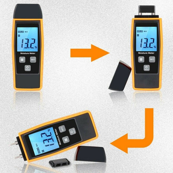 2X(Professional Wood Moisture Humidity Meter Digital Tester 0%~80% - Rz660